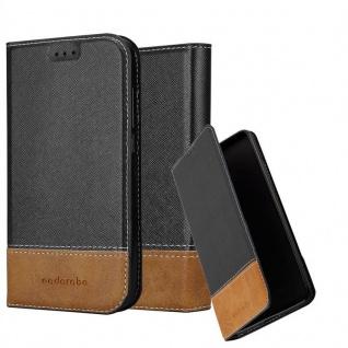Cadorabo Hülle für LG X Power in SCHWARZ BRAUN - Handyhülle mit Magnetverschluss, Standfunktion und Kartenfach - Case Cover Schutzhülle Etui Tasche Book Klapp Style