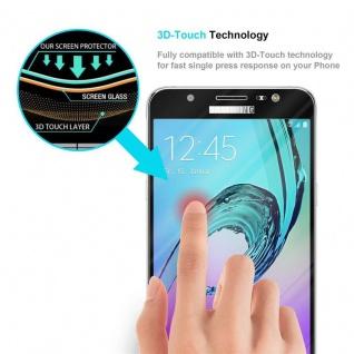 Cadorabo Vollbild Panzer Folie für Samsung Galaxy J7 2016 - Schutzfolie in TRANSPARENT mit SCHWARZ - Gehärtetes (Tempered) Display-Schutzglas in 9H Härte mit 3D Touch Kompatibilität - Vorschau 5