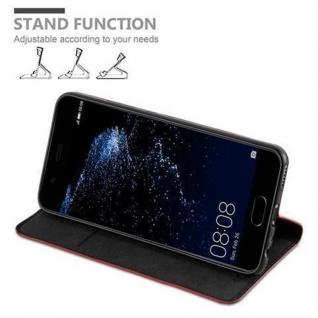 Cadorabo Hülle für Huawei P10 in APFEL ROT Handyhülle mit Magnetverschluss, Standfunktion und Kartenfach Case Cover Schutzhülle Etui Tasche Book Klapp Style - Vorschau 4