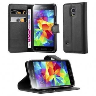 Cadorabo Hülle für Samsung Galaxy S5 MINI / S5 MINI DUOS in PHANTOM SCHWARZ Handyhülle mit Magnetverschluss, Standfunktion und Kartenfach Case Cover Schutzhülle Etui Tasche Book Klapp Style