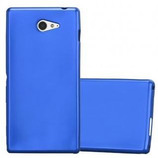 Cadorabo Hülle für Sony Xperia M2 / M2 Aqua in METALLIC BLAU - Handyhülle aus flexiblem TPU Silikon - Silikonhülle Schutzhülle Ultra Slim Soft Back Cover Case Bumper