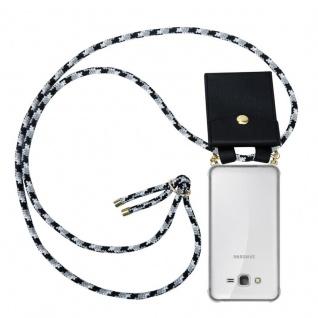 Cadorabo Handy Kette für Samsung Galaxy GRAND PRIME in SCHWARZ CAMOUFLAGE - Silikon Necklace Umhänge Hülle mit Gold Ringen, Kordel Band Schnur und abnehmbarem Etui ? Schutzhülle