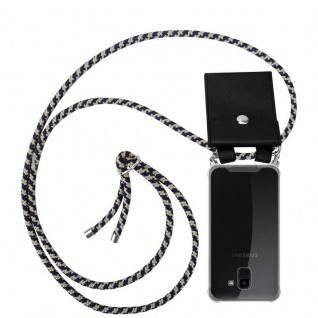 Cadorabo Handy Kette für Samsung Galaxy J6 2018 in DUNKELBLAU GELB - Silikon Necklace Umhänge Hülle mit Silber Ringen, Kordel Band Schnur und abnehmbarem Etui - Schutzhülle