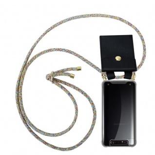 Cadorabo Handy Kette für Samsung Galaxy A80 / A90 in RAINBOW Silikon Necklace Umhänge Hülle mit Gold Ringen, Kordel Band Schnur und abnehmbarem Etui Schutzhülle