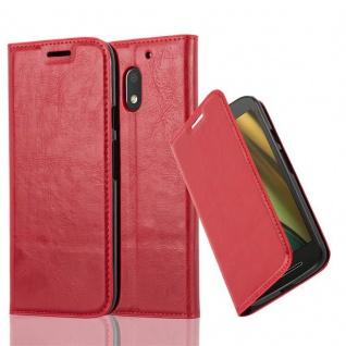 Cadorabo Hülle für Motorola MOTO E3 in APFEL ROT Handyhülle mit Magnetverschluss, Standfunktion und Kartenfach Case Cover Schutzhülle Etui Tasche Book Klapp Style