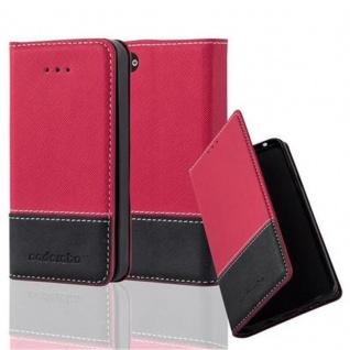 Cadorabo Hülle für Apple iPhone 4 / iPhone 4S in ROT SCHWARZ ? Handyhülle mit Magnetverschluss, Standfunktion und Kartenfach ? Case Cover Schutzhülle Etui Tasche Book Klapp Style