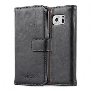 Cadorabo Hülle für Samsung Galaxy S6 in GRAPHIT SCHWARZ Handyhülle mit Magnetverschluss, Standfunktion und Kartenfach Case Cover Schutzhülle Etui Tasche Book Klapp Style