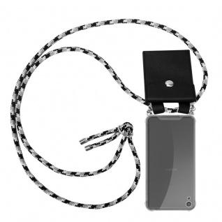Cadorabo Handy Kette für Sony Xperia XA in SCHWARZ CAMOUFLAGE - Silikon Necklace Umhänge Hülle mit Silber Ringen, Kordel Band Schnur und abnehmbarem Etui - Schutzhülle