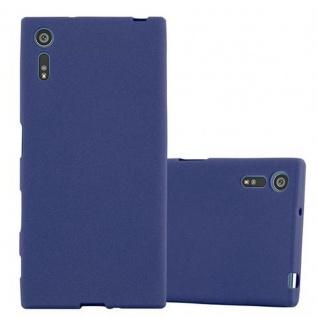 Cadorabo Hülle für Sony Xperia XZ / XZs - Hülle in FROST DUNKEL BLAU ? Handyhülle aus TPU Silikon im matten Frosted Design - Ultra Slim Soft Backcover Case Bumper