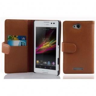 Cadorabo Hülle für Sony Xperia C in COGNAC BRAUN - Handyhülle aus strukturiertem Kunstleder mit Standfunktion und Kartenfach - Case Cover Schutzhülle Etui Tasche Book Klapp Style