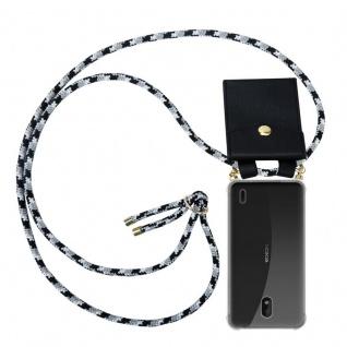 Cadorabo Handy Kette für Nokia 1 PLUS in SCHWARZ CAMOUFLAGE Silikon Necklace Umhänge Hülle mit Gold Ringen, Kordel Band Schnur und abnehmbarem Etui Schutzhülle