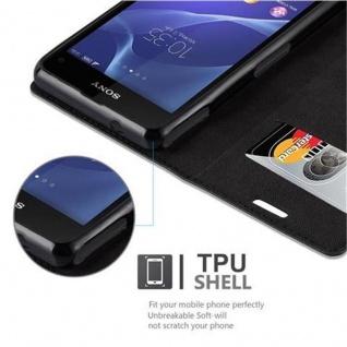 Cadorabo Hülle für Sony Xperia Z1 COMPACT in NACHT SCHWARZ - Handyhülle mit Magnetverschluss, Standfunktion und Kartenfach - Case Cover Schutzhülle Etui Tasche Book Klapp Style - Vorschau 4