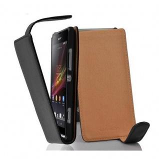 Cadorabo Hülle für Sony Xperia SP in OXID SCHWARZ - Handyhülle im Flip Design aus strukturiertem Kunstleder - Case Cover Schutzhülle Etui Tasche Book Klapp Style