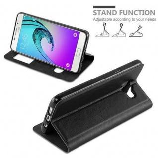 Cadorabo Hülle für Samsung Galaxy A3 2016 in KOMETEN SCHWARZ - Handyhülle mit Magnetverschluss, Standfunktion und 2 Sichtfenstern - Case Cover Schutzhülle Etui Tasche Book Klapp Style - Vorschau 3