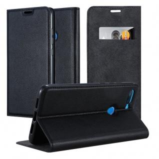 Cadorabo Hülle für Xiaomi Mi 8 Lite in NACHT SCHWARZ - Handyhülle mit Magnetverschluss, Standfunktion und Kartenfach - Case Cover Schutzhülle Etui Tasche Book Klapp Style