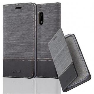 Cadorabo Hülle für Nokia 6 2017 in GRAU SCHWARZ - Handyhülle mit Magnetverschluss, Standfunktion und Kartenfach - Case Cover Schutzhülle Etui Tasche Book Klapp Style