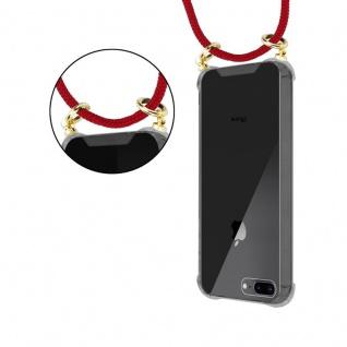 Cadorabo Handy Kette für Apple iPhone 8 PLUS / 7 PLUS / 7S PLUS in RUBIN ROT - Silikon Necklace Umhänge Hülle mit Gold Ringen, Kordel Band Schnur und abnehmbarem Etui ? Schutzhülle - Vorschau 5