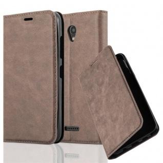 Cadorabo Hülle für Lenovo A PLUS in KAFFEE BRAUN - Handyhülle mit Magnetverschluss, Standfunktion und Kartenfach - Case Cover Schutzhülle Etui Tasche Book Klapp Style