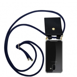 Cadorabo Handy Kette für Samsung Galaxy J6 2018 in TIEF BLAU - Silikon Necklace Umhänge Hülle mit Gold Ringen, Kordel Band Schnur und abnehmbarem Etui ? Schutzhülle