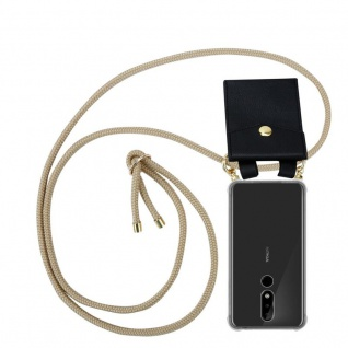 Cadorabo Handy Kette für Nokia 5.1 Plus in GLÄNZEND BRAUN Silikon Necklace Umhänge Hülle mit Gold Ringen, Kordel Band Schnur und abnehmbarem Etui Schutzhülle