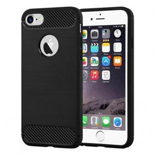 Cadorabo Hülle für Apple iPhone 7 / iPhone 7S - Hülle in BRUSHED SCHWARZ - Handyhülle aus TPU Silikon in Edelstahl-Karbonfaser Optik - Silikonhülle Schutzhülle Ultra Slim Soft Back Cover Case Bumper