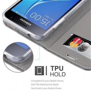 Cadorabo Hülle für Samsung Galaxy J3 2016 in GRAU SCHWARZ - Handyhülle mit Magnetverschluss, Standfunktion und Kartenfach - Case Cover Schutzhülle Etui Tasche Book Klapp Style - Vorschau 3