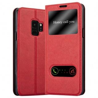 Cadorabo Hülle für Samsung Galaxy S9 in SAFRAN ROT - Handyhülle mit Magnetverschluss, Standfunktion und 2 Sichtfenstern - Case Cover Schutzhülle Etui Tasche Book Klapp Style