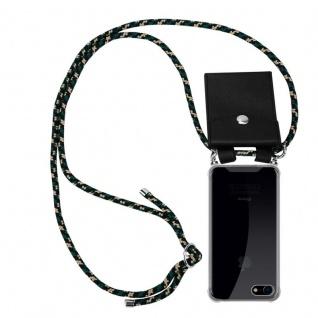 Cadorabo Handy Kette für Apple iPhone 8 / iPhone 7 / iPhone 7S in CAMOUFLAGE - Silikon Necklace Umhänge Hülle mit Silber Ringen, Kordel Band Schnur und abnehmbarem Etui - Schutzhülle