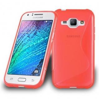 Cadorabo Hülle für Samsung Galaxy J1 2015 in INFERNO ROT - Handyhülle aus flexiblem TPU Silikon - Silikonhülle Schutzhülle Ultra Slim Soft Back Cover Case Bumper