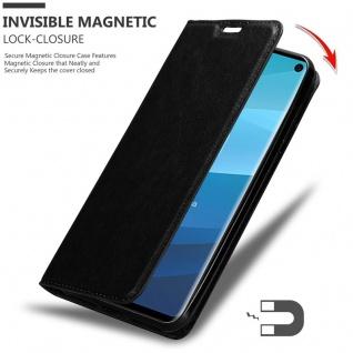 Cadorabo Hülle für Samsung Galaxy S10 in NACHT SCHWARZ - Handyhülle mit Magnetverschluss, Standfunktion und Kartenfach - Case Cover Schutzhülle Etui Tasche Book Klapp Style - Vorschau 3