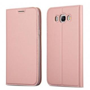 Cadorabo Hülle für Samsung Galaxy J7 2016 in CLASSY ROSÉ GOLD - Handyhülle mit Magnetverschluss, Standfunktion und Kartenfach - Case Cover Schutzhülle Etui Tasche Book Klapp Style
