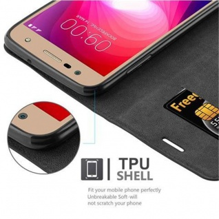 Cadorabo Hülle für LG X POWER 2 in NACHT SCHWARZ - Handyhülle mit Magnetverschluss, Standfunktion und Kartenfach - Case Cover Schutzhülle Etui Tasche Book Klapp Style - Vorschau 3