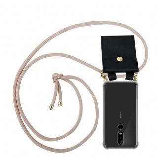 Cadorabo Handy Kette für Nokia 5.1 Plus in PERLIG ROSÉGOLD Silikon Necklace Umhänge Hülle mit Gold Ringen, Kordel Band Schnur und abnehmbarem Etui Schutzhülle
