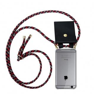 Cadorabo Handy Kette für Apple iPhone 6 PLUS / iPhone 6S PLUS in ROT BLAU GELB - Silikon Necklace Umhänge Hülle mit Gold Ringen, Kordel Band Schnur und abnehmbarem Etui ? Schutzhülle