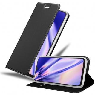 Cadorabo Hülle für Samsung Galaxy A10 in CLASSY SCHWARZ Handyhülle mit Magnetverschluss, Standfunktion und Kartenfach Case Cover Schutzhülle Etui Tasche Book Klapp Style