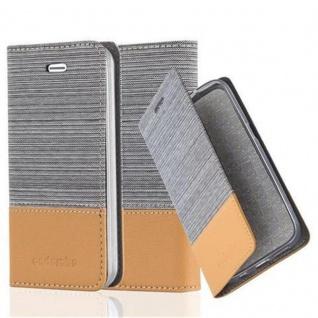 Cadorabo Hülle für Apple iPhone 4 / iPhone 4S in HELL GRAU BRAUN - Handyhülle mit Magnetverschluss, Standfunktion und Kartenfach - Case Cover Schutzhülle Etui Tasche Book Klapp Style