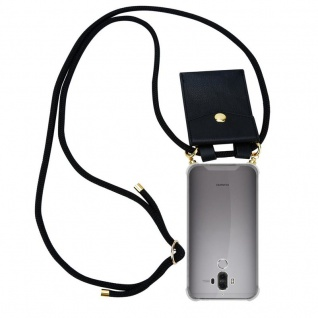 Cadorabo Handy Kette für Huawei MATE 9 in SCHWARZ ? Silikon Necklace Umhänge Hülle mit Gold Ringen, Kordel Band Schnur und abnehmbarem Etui ? Schutzhülle