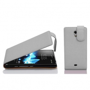 Cadorabo Hülle für Sony Xperia T in MAGNESIUM WEIß - Handyhülle im Flip Design aus strukturiertem Kunstleder - Case Cover Schutzhülle Etui Tasche Book Klapp Style