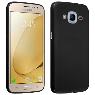 Cadorabo Hülle für Samsung Galaxy J2 2016 in METALL SCHWARZ - Hardcase Handyhülle aus Plastik gegen Kratzer und Stöße - Schutzhülle Bumper Ultra Slim Back Case Hard Cover