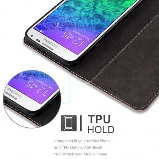 Cadorabo Hülle für Samsung Galaxy ALPHA in GOLD SCHWARZ ? Handyhülle mit Magnetverschluss, Standfunktion und Kartenfach ? Case Cover Schutzhülle Etui Tasche Book Klapp Style - Vorschau 4