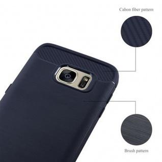 Cadorabo Hülle für Samsung Galaxy S7 - Hülle in BRUSHED BLAU - Handyhülle aus TPU Silikon in Edelstahl-Karbonfaser Optik - Silikonhülle Schutzhülle Ultra Slim Soft Back Cover Case Bumper - Vorschau 5