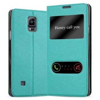 Cadorabo Hülle für Samsung Galaxy NOTE 4 in MINT TÜRKIS Handyhülle mit Magnetverschluss, Standfunktion und 2 Sichtfenstern Case Cover Schutzhülle Etui Tasche Book Klapp Style