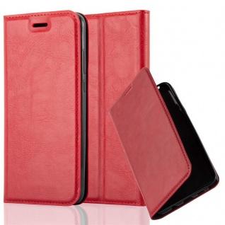 Cadorabo Hülle für Huawei P20 in APFEL ROT Handyhülle mit Magnetverschluss, Standfunktion und Kartenfach Case Cover Schutzhülle Etui Tasche Book Klapp Style