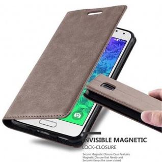 Cadorabo Hülle für Samsung Galaxy ALPHA in KAFFEE BRAUN - Handyhülle mit Magnetverschluss, Standfunktion und Kartenfach - Case Cover Schutzhülle Etui Tasche Book Klapp Style