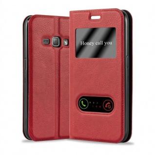 Cadorabo Hülle für Samsung Galaxy J1 2015 in SAFRAN ROT ? Handyhülle mit Magnetverschluss, Standfunktion und 2 Sichtfenstern ? Case Cover Schutzhülle Etui Tasche Book Klapp Style