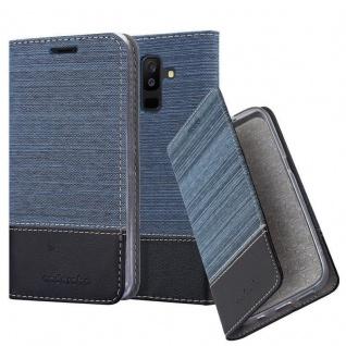 Cadorabo Hülle für Samsung Galaxy A6 PLUS 2018 in DUNKEL BLAU SCHWARZ - Handyhülle mit Magnetverschluss, Standfunktion und Kartenfach - Case Cover Schutzhülle Etui Tasche Book Klapp Style