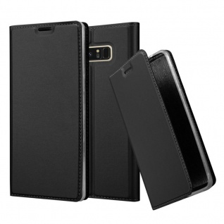 Cadorabo Hülle für Samsung Galaxy NOTE 8 in CLASSY SCHWARZ Handyhülle mit Magnetverschluss, Standfunktion und Kartenfach Case Cover Schutzhülle Etui Tasche Book Klapp Style