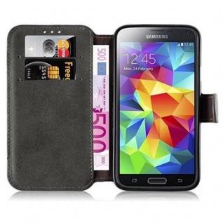 Cadorabo Hülle für Samsung Galaxy S5 / S5 NEO - Hülle in MATT GRAU - Handyhülle mit Standfunktion und Kartenfach im Retro Design - Case Cover Schutzhülle Etui Tasche Book Klapp Style