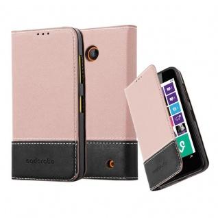 Cadorabo Hülle für Nokia Lumia 630 in ROSÉ GOLD SCHWARZ ? Handyhülle mit Magnetverschluss, Standfunktion und Kartenfach ? Case Cover Schutzhülle Etui Tasche Book Klapp Style
