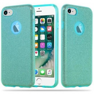 Cadorabo Hülle für Apple iPhone 7 / 7S / 8 / SE 2020 - Hülle in STERNENSTAUB TÜRKIS ? TPU Silikon und Hardcase Handyhülle im Glitzer Design - Hard Case TPU Silikon Schutzhülle